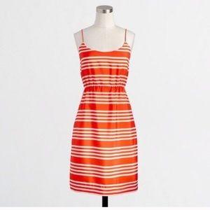 J. Crew Orange Striped Printed Blouson Tank Dress